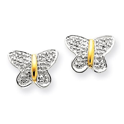Rhodium Diamond Butterfly Post Earrings 14k Gold XE1578A