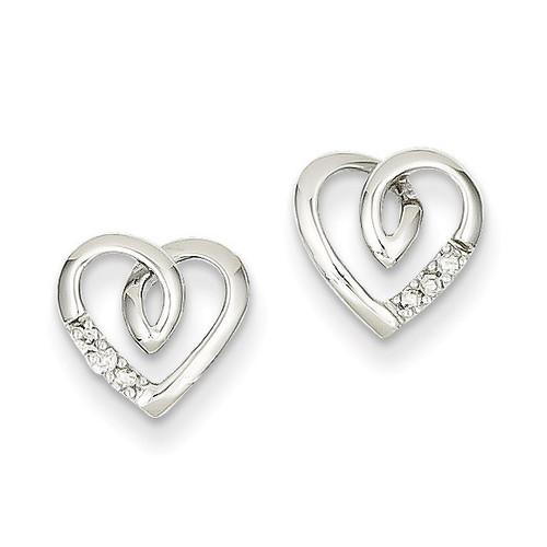 Heart Post Earrings 14k White Gold XE1927AA