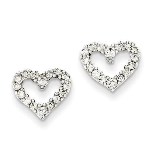 Diamond Heart Earrings 14k White Gold XE650A