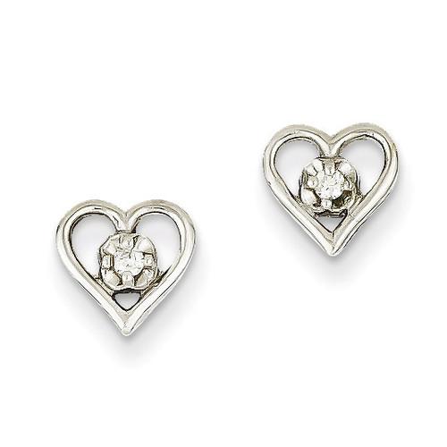 Diamond Heart Earrings 14k White Gold XE838WAA