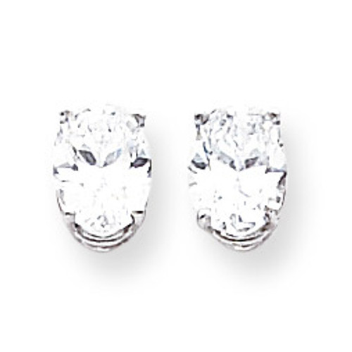 8x6mm Oval CZ Earrings 14k White Gold XE88WCZ