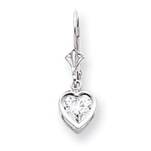 6mm Heart Leverback Mounting 14k White Gold XLB110W