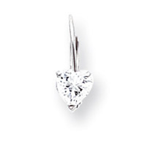 5mm Heart Leverback Mounting 14k White Gold XLB120W