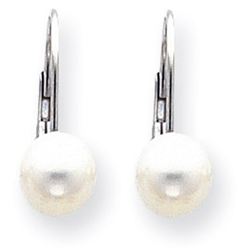 7mm Cultured Pearl Leverback Earrings 14k White Gold XLBW75PL