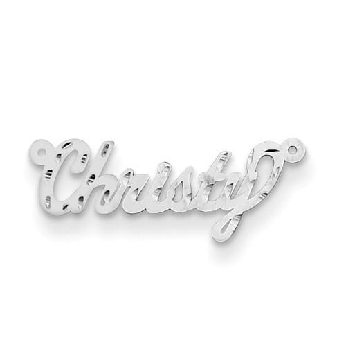 0.013 Gauge Polished Diamond-cut Nameplate 14k White Gold XNA166W