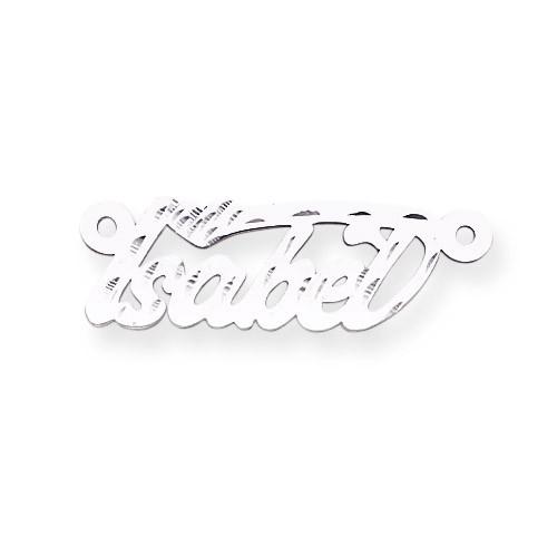 0.013 Gauge Polished Diamond-cut Nameplate 14k White Gold XNA168W