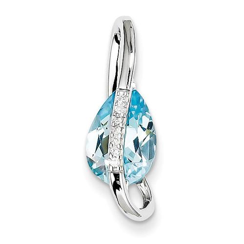 Blue Topaz & Diamond Slide 14k White Gold XP2088A