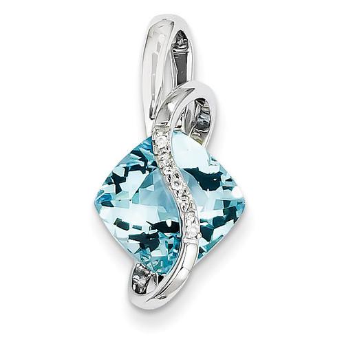 Blue Topaz and Diamond Slide 14k White Gold XP2089A
