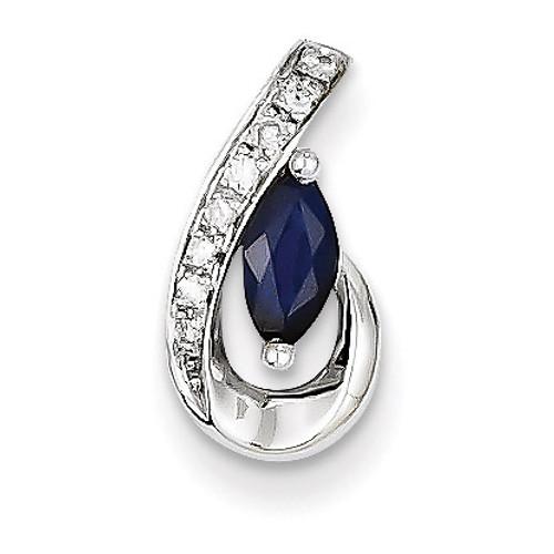 Diamond & Sapphire Pendant Slide 14k White Gold XP4117S/AA