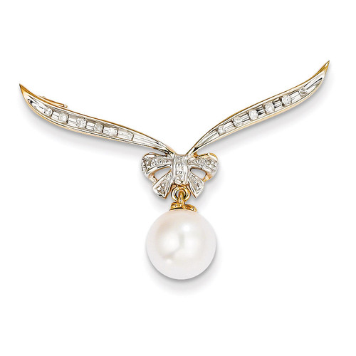 Diamond and Cultured Pearl Slide Pendant 14k Gold XP4151AA