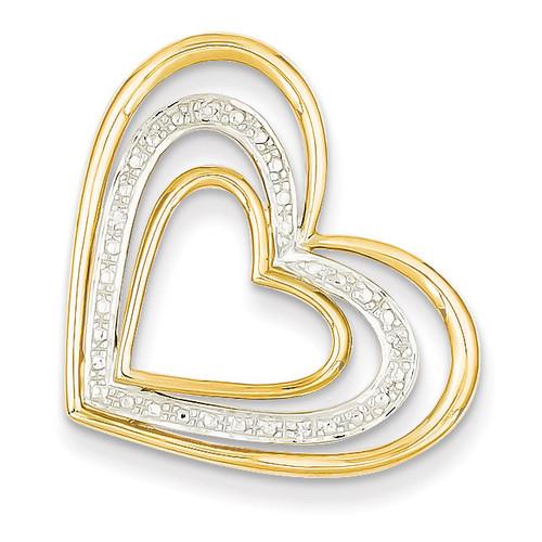 Diamond & Rhodium Triple Heart Slide Pendant 14k Gold XP4356AA