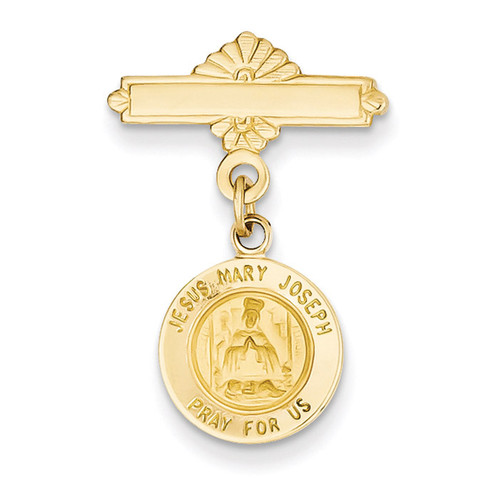 Holy Family Medal Pin 14k Gold XR748