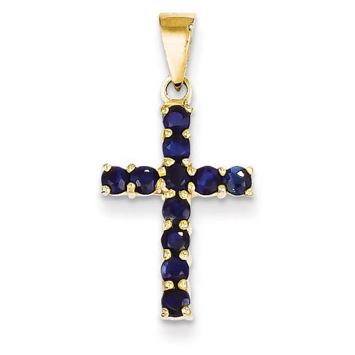 Sapphire Cross Pendant 14k Gold XR862