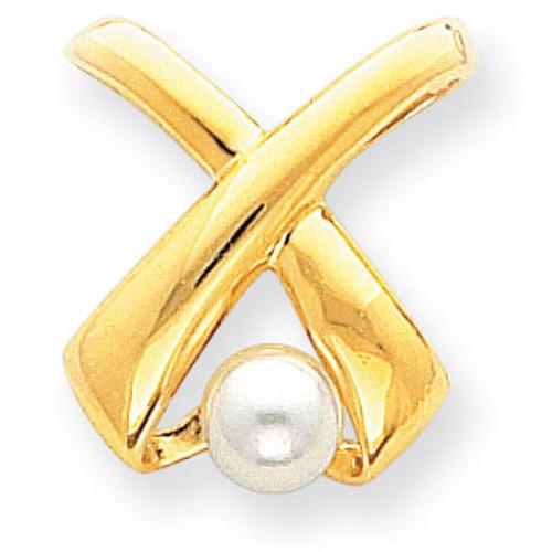 Cultured Pearl Diamond slide 14k Gold XS616PL