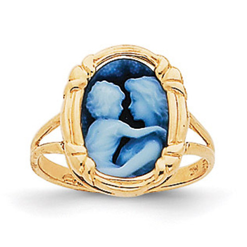 Agate Everlasting Love Cameo Ring 14k Gold XU424