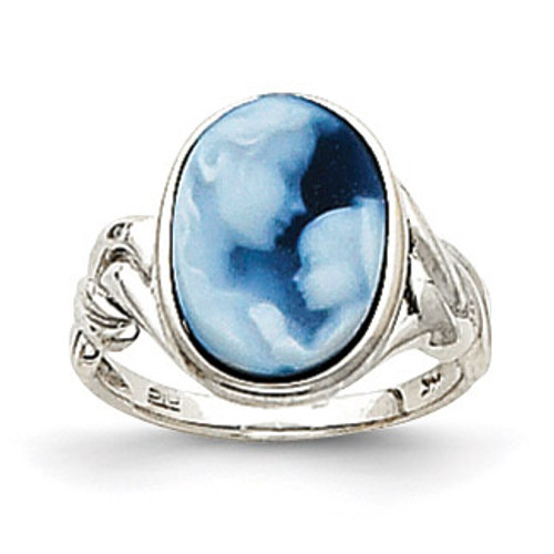 Heavens Gift Agate Cameo Ring 14k White Gold XU482