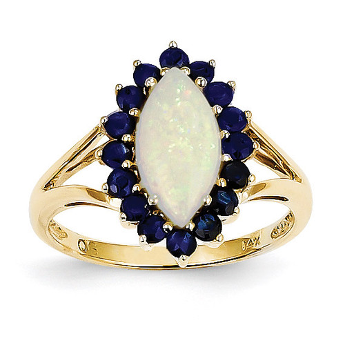 Opal and Sapphire Ring 14k Gold Y11658OP