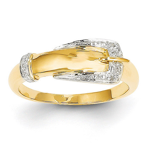 Diamond Buckle Ring 14k Gold Rhodium Y11680AA
