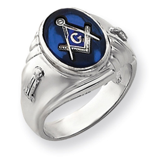 Men's Masonic Ring 14k White Gold Y4063M