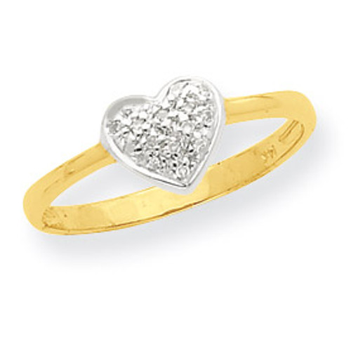 Marquise Diamond Heart Ring 14K Gold & Rhodium Y7996A
