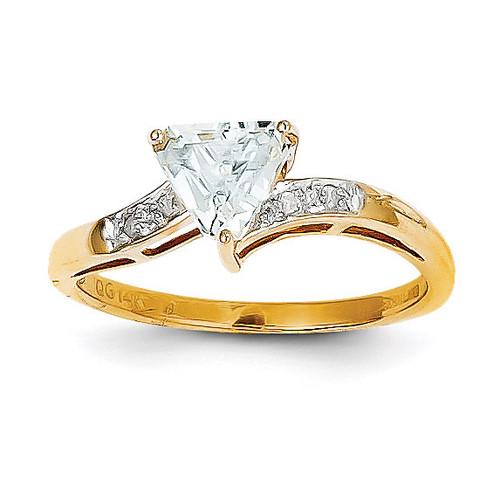 Aquamarine & Diamond Ring 14k Gold Y8592AQ
