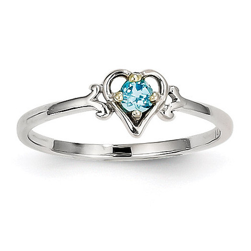 December Birthstone Heart Ring 14k White Gold Genuine YC423