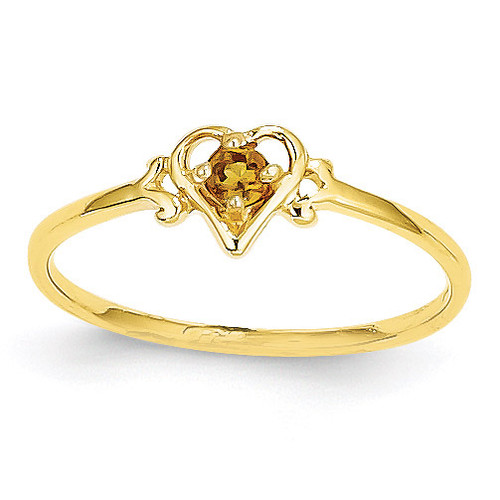 Genuine November Birthstone Heart Ring 14k Gold YC434