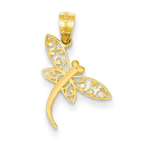 Satin Diamond-cut Dragonfly Pendant 14k Gold YC951