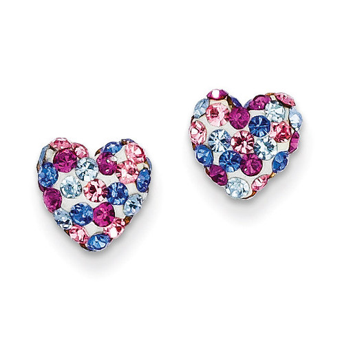Blue Pink White Crystal 8mm Heart Post Earrings 14k Gold YE1609