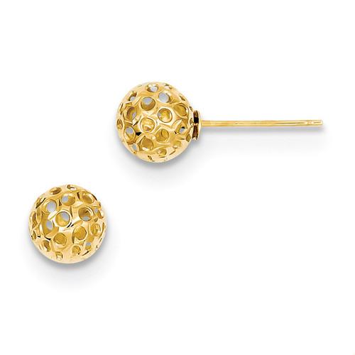 Diamond Cut Bead Post Earrings 14k Gold YE1636