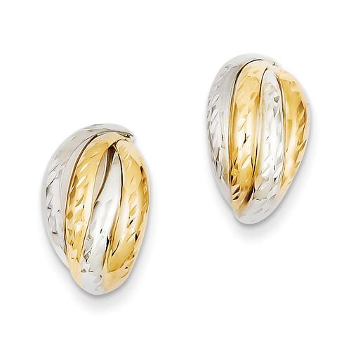 Rhodium Polished and Diamond-cut Fancy Post Earrings 14k Gold YE1640