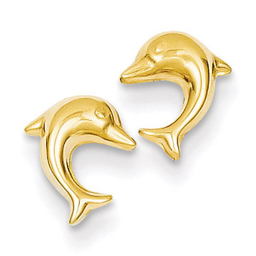 Small Dolphin Post Earrings 14k Gold YE1668