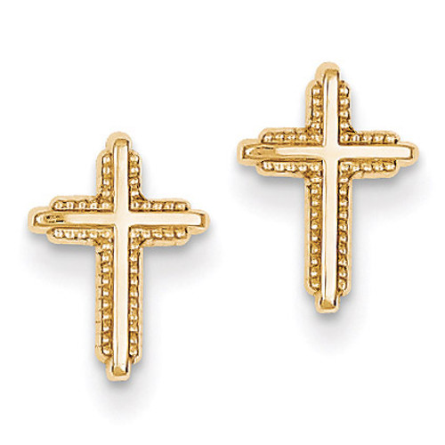 Polished Cross Post Earrings 14k Gold YE1675