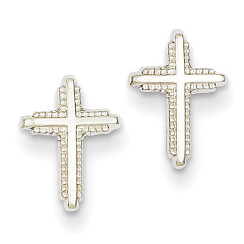 Polished Cross Post Earrings 14k White Gold YE1676