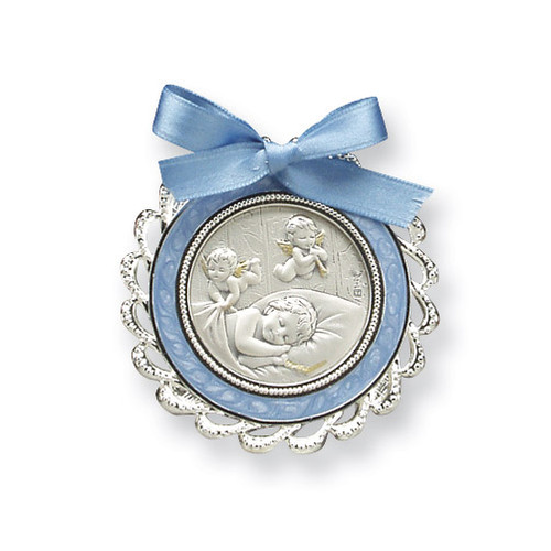 Blue Crib Medal Sterling Silver GP5484