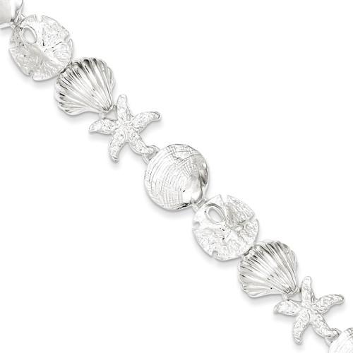 7 Inch Seashells Bracelet Sterling Silver QA28-7