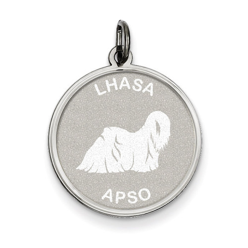 Lhasa Apso Disc Charm Sterling Silver QC2693