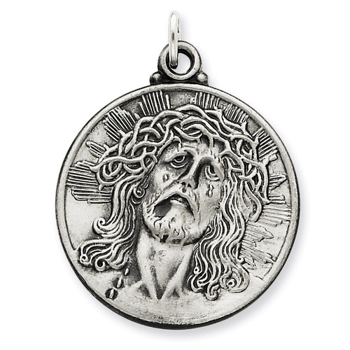 Ecce Homo Medal Antiqued Sterling Silver QC3444