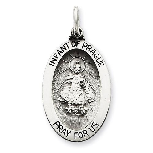 Infant of Prague Medal Antiqued Sterling Silver QC3450