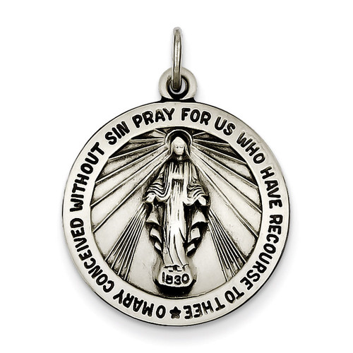 Miraculous Medal Antiqued Sterling Silver QC3482