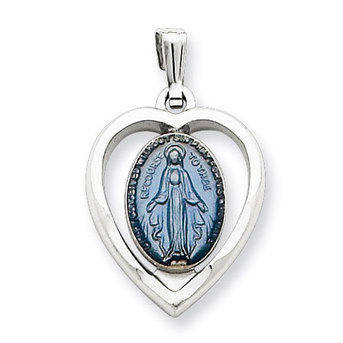 Miraculous Heart Medal Sterling Silver QC3504