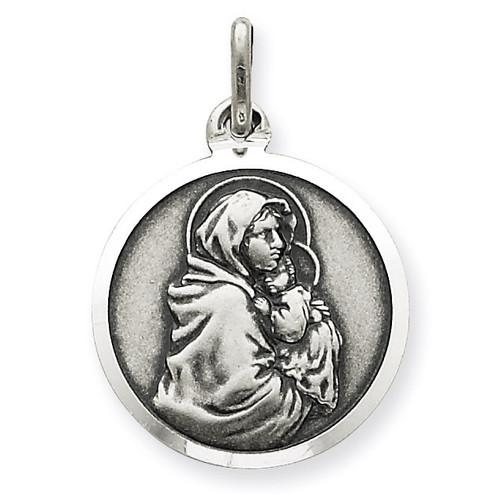 Madonna & Child Medal Antiqued Sterling Silver QC3522