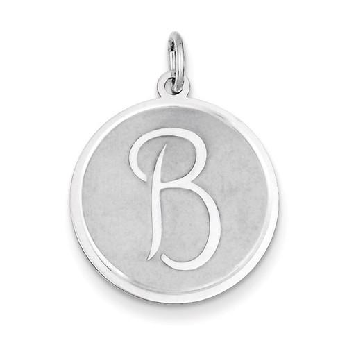 Brocaded Initial B Charm Sterling Silver QC4162B