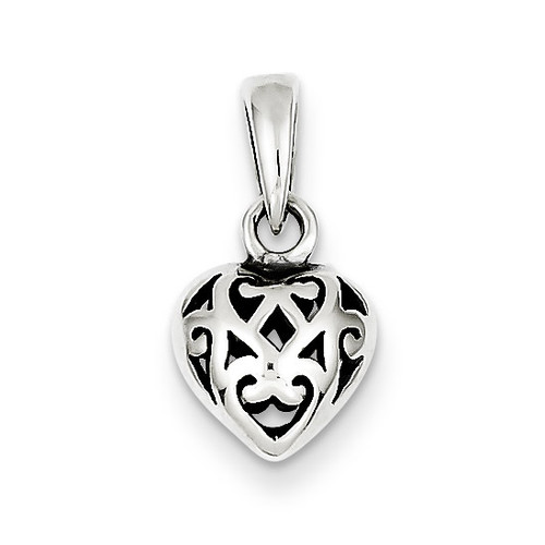 Antique Puff Heart Charm Sterling Silver QC4560