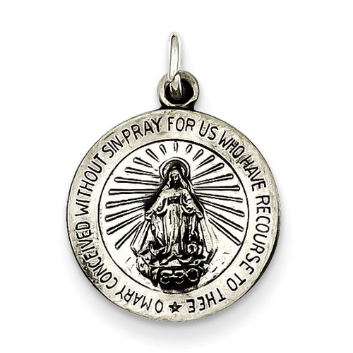 Miraculous Medal Antiqued Sterling Silver QC463
