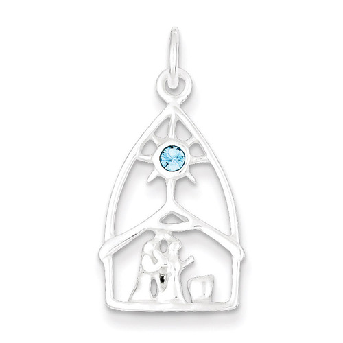 Stellux Crystal Nativity Charm Sterling Silver QC5262