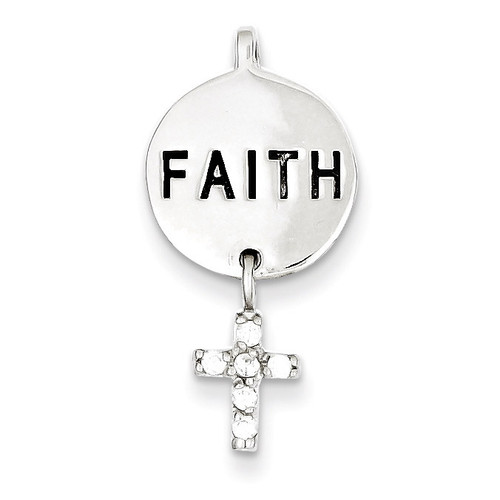 Cross Faith Slide Sterling Silver Diamond QC5334
