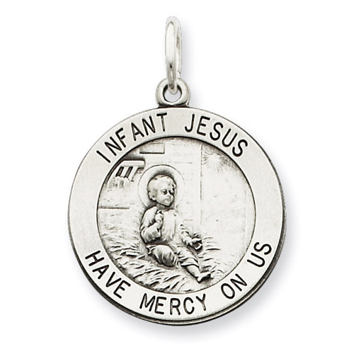 Infant Jesus Medal Antiqued Sterling Silver QC5479