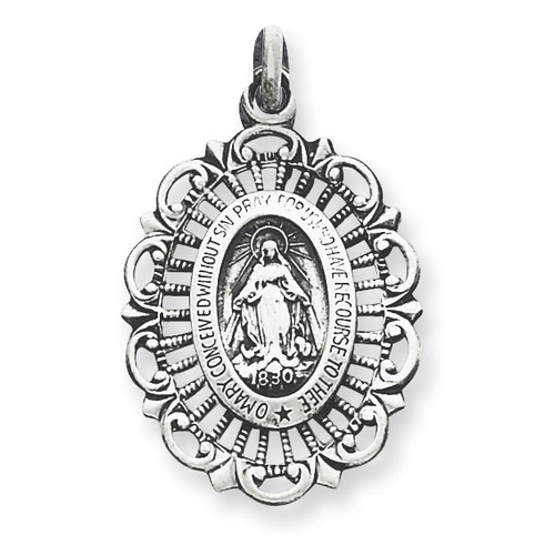 Miraculous Medal Antiqued Sterling Silver QC5509