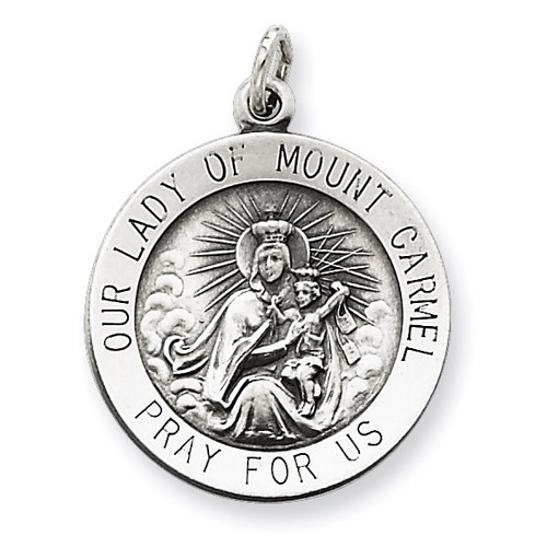 Our Lady of Mount Carmel Medal Antiqued Sterling Silver QC5578